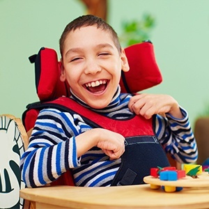 Smiling child in wheelchair